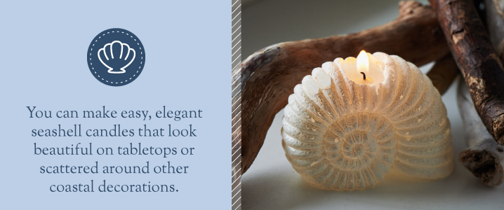 Make your own seashell candles to add coastal decorations to your home.