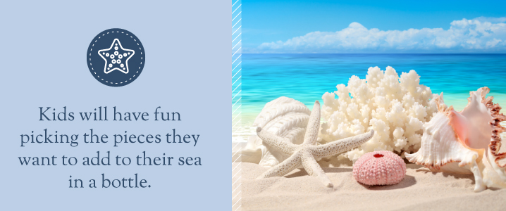 Kids will have fun picking the pieces they want to add to their sea bottle.