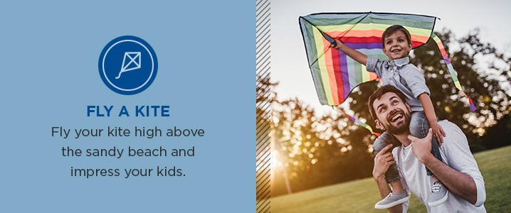 Fly your kite high above the sandy beach and impress your kids