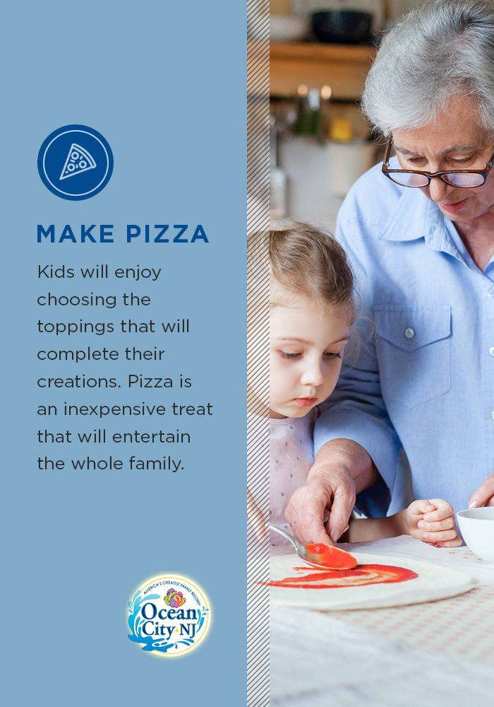 Kids will enjoy choosing the toppings that will complete their creations. Pizza is an inexpensive treat that will entertain the whole family